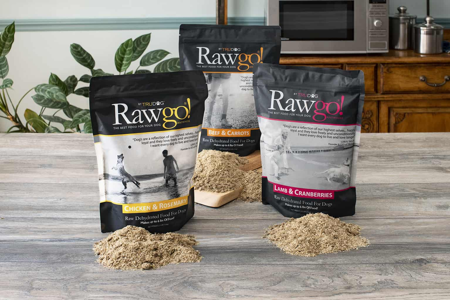 The flavors of Rawgo are beef & carrots, lamb & cranberries, and chicken and rosemary. These 2.2 lb bags make 6 pounds of food, each.