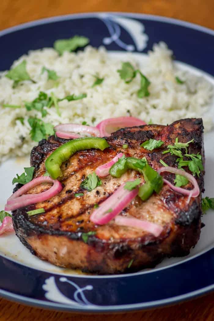 Dinner is served: Jalapeño Cilantro Grilled Pork Chops, with Jalapeño Shallot Relish, and Cilantro Rice on the Side